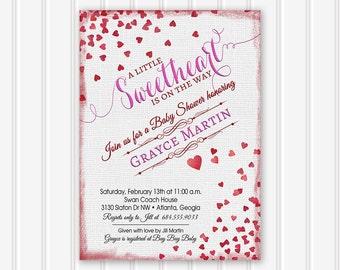 Baby Shower Invitation, Baby Shower Invite, Valentine Shower, Little Sweetheart, Valentines Day, Baby Girl, Neutral Baby Shower, Printable