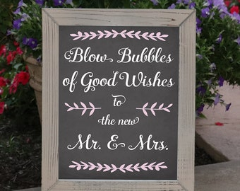 Bubbles of Wishes Wedding Print / Blow Bubbles of Good Wishes Wedding Decoration