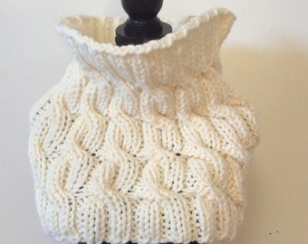 Hand knit Chunky cable cowl, ready to ship
