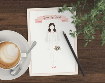 Printable Pink Blush and Gold Guess My Dress Guess The Dress Bridal Shower Game - 0001