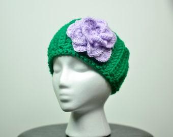 green headwrap, crochet headband, crochet flower, adult headband, child headband, purple crochet flower