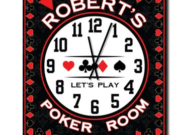Poker Room Personalized Wall Clock