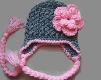 Crochet newborn hat, girl earflap hat, baby girl hat, crochet earflap hat, gray baby girl hat, newborn girl hat, crochet newborn hat