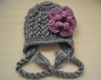 Wool baby girl hat, newborn girl hat, baby earflap hat, baby girl hat, winter baby hat, crochet baby hat, newborn girl outfit