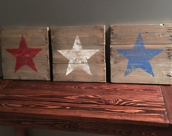 Distressed Red, White, and Blue Star Signs