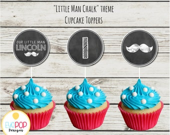 LITTLE MAN BIRTHDAY *Chalkboard *Cupcake Toppers *First Birthday Party *Mustache *Party Decor * Digital