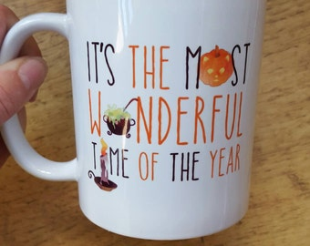 It's the most wonderful time of the year autumn halloween pumpkin mug