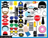 Many Props Police - Cutting Files SVG JPG Digital Graphic Design Instant Download Commercial Use Photo Booth Glasses Cop Cool Fun (00319c)