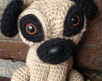 Mr. Puggsworth the Curious Pug Puppy, Crochet Amigurumi