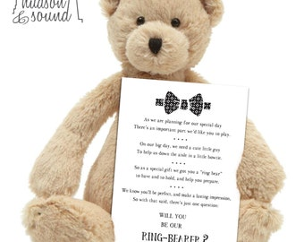 "Will you be my ring bearer - ""ring bear"" card. wedding, bride, invitation."