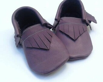 Mauve purple baby and toddler moccassins