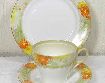 Art Deco Shelley  Trio Cup Saucer, Side Plate in the 12496 Pattern 1936  reg nr 795072  in Very Good Condition