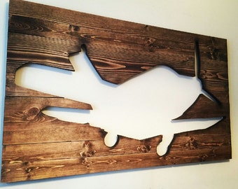 Custom Pallet Wood Art Cutout Wall Hanging, Airplane, Fish, Animal, Etc.