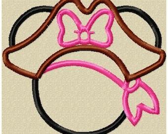 Machine Embroidery Applique Design - Minnie Pirate Applique comes in 4x4,5x7,and 6x10