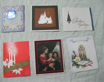 1940s Christmas cards.  6 Vintage used cards #111