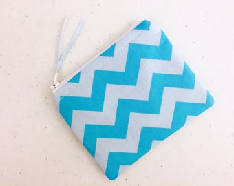 Two Tone Blue/Light Blue Chevron Zippered Change Purse