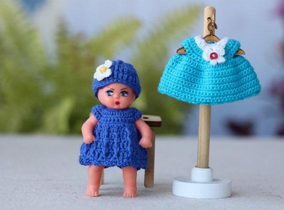 2 inch mini doll dress. Crochet dollhouse baby doll dress.1:12