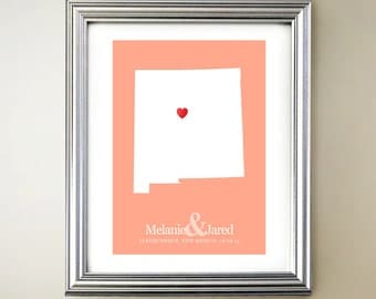 New Mexico Custom Vertical Heart Map Art - Personalized names, wedding gift, engagement, anniversary date
