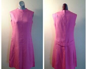 60's Pink Dress, Sleeveless, Linen/Silk Blend, Mod, Scooter Dress, Mam'selle For Jacobson's, Size Large