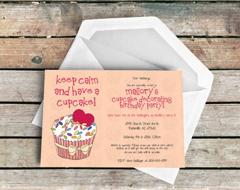 Party Invitation Sweet Surprise Cupcake DIY Printout A4 5x7 inches