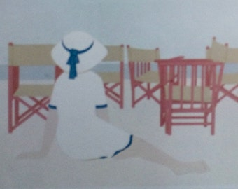 Aldo Andreolo - ltd signed lithograph 1982 'Emptiness' Woman on Beach