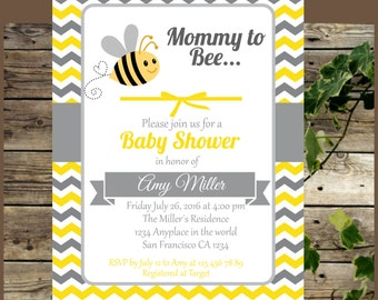 Baby Shower Printable Invitation, Mommy to Bee Invite for Baby Shower, Yellow and Grey Bee Invitation, Bee Party Supplies