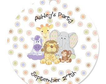 Zoo Crew - Zoo Animals Personalized Party Tags - Baby Shower or Birthday Party DIY Craft Supplies- 20 Count