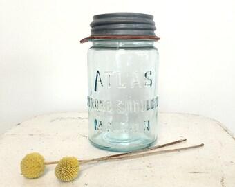 Vintage Atlas Glass Mason Jar