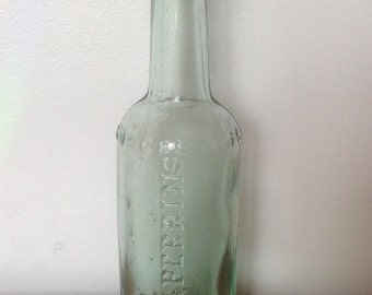 Vintage Lea & Perrins Bottle. Victorian Glass Bottle. 1900's.