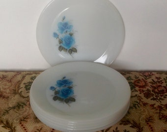 "Phoenix 10"" Dinner Plates. Set of Six Blue Rose Pattern. 1950's/60's."