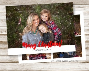 Christmas Card, Photo Christmas Card, Simple Christmas Card, 5 picture Christmas Card, Merry Christmas, Holiday Cards, DIGITAL FILE ONLY