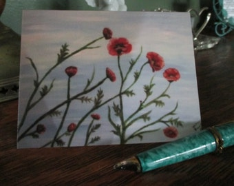 Note Card using original acrylic painting and blank inside--FREE SHIPPING!