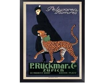 Pelzwaren Fourrures, P. Ruckmar and C., 1910 By Ernest Montaut Print. Framed Options Only