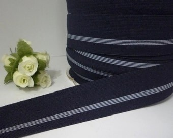 5 yds Dark Blue / Navy Blue (almost Black) with White Stripe Waistband Elastic Band Trim 1-1/4 inch / 3.1 cm width, thickness 0.7mm EB80