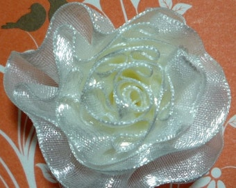 "2 pc Bridal Pearl white Satin Cabbage Flower Appliques Craft DIY 1-3/4""/4.4cm Diameter C28"