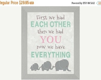Sale First We Had Each Other Elephant Aqua Pink Decor Art Framed Picture 13x16