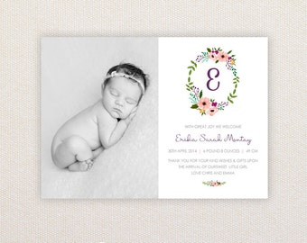Girls Photo Birth Announcement. I Customize, You Print. Floral Monogram Letter.