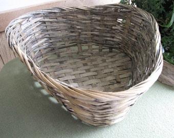 Vintage Reed Basket Hand Woven in a Triangular Shape Primitive Gathering Garden Trug