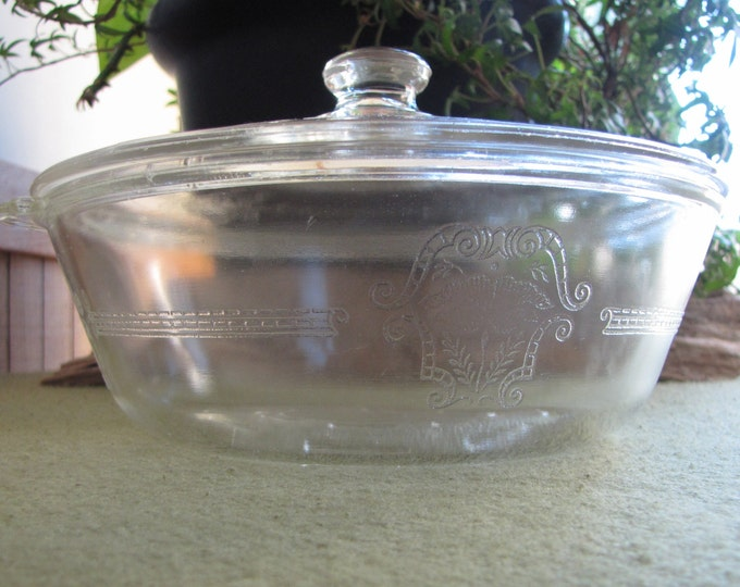 Vintage Glasbake Casserole Dish Poppy Pattern Lidded Ovenware Etched Glass McKee Glass Co. 1950s