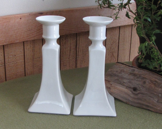 White Candlesticks Bernardaud & Co. Limoges France Neriedes Two (2) White Ceramic Discontinued