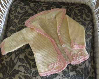 Vintage Handmade Baby's knit, crocheted sweater- free shipping USA