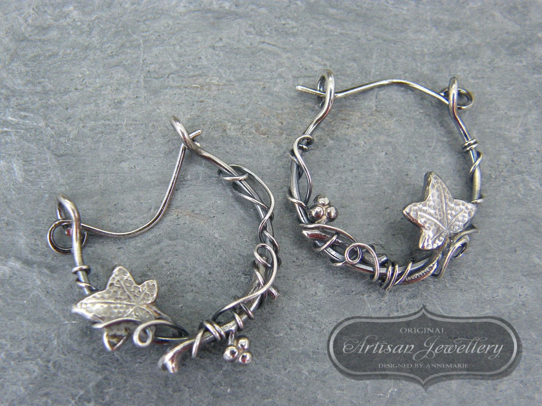 Silver Hoop Earrings Ivy Leaf Sterling By Designedbyannemarie