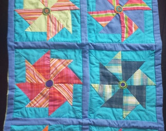 Colorful and Happy Handmade Pinwheel Wall Hanging Quilt