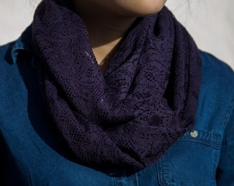Dark Purple Lace Infinity Scarf