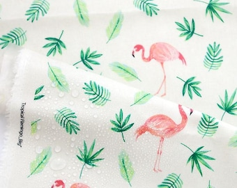 Laminated Flamingo Pattern Linen Fabric by Yard (Big Flamingo Pattern)