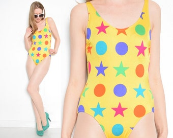 vintage 80s swimsuit yellow geometric print colorful stars swimsuit swimming suit bathing suit 1980s clothing extra small small XS S