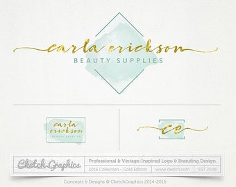 Premade Logo Design - Gold, Mint, Watercolor, Caligraphy - 201