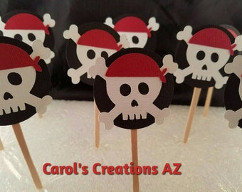 12 Pirate Cupcake Toppers / Pirate Party / Pirate Celebration / Pirate Birthday / Pirate Picks / ANY COLOR