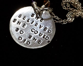 Hand Stamped She Believed She Could So She Did Sterling Silver Necklace Channel Drop, Bicone Crystals