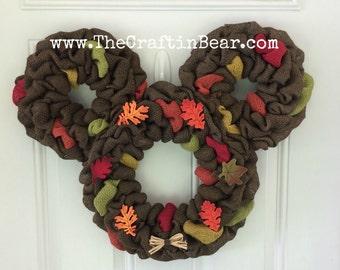 Fall Mickey Mouse wreath - Burlap wreath - Mickey Mouse wreath - Thanksgiving Mickey Mouse wreath - Thanksgiving wreath - Harvest Mickey